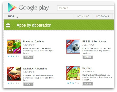Some of the bogus apps in the Google Play store