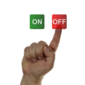 Finger turning off. Image from Shutterstock