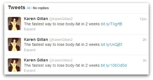 Tweets posted from Karen Gillan's compromised account