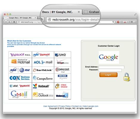 Google phishing webpage