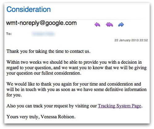Spam email, claiming to come from Google