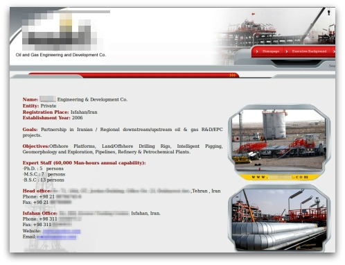 Infected Iranian oil website