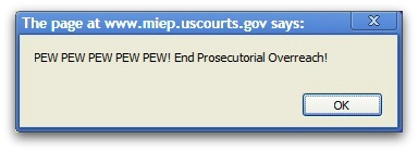 Message pops-up on US government website