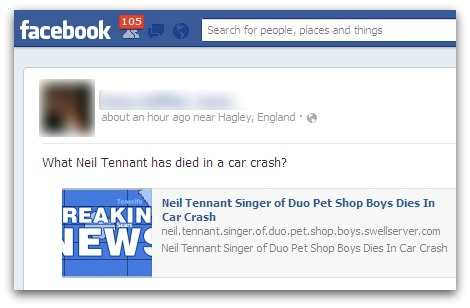 Facebook user worries that Neil Tennant might have died