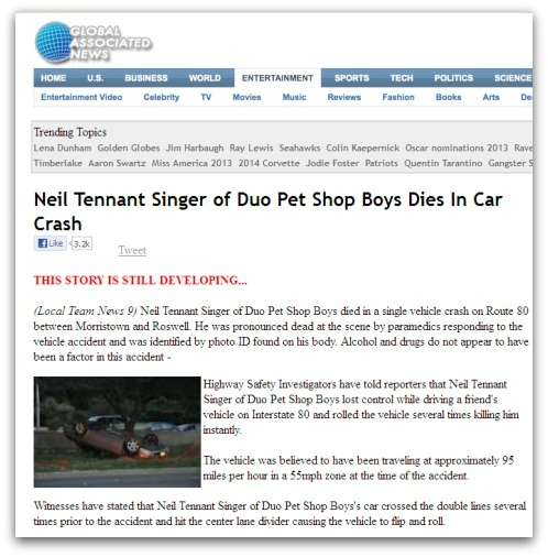 False story about Neil Tennant's death
