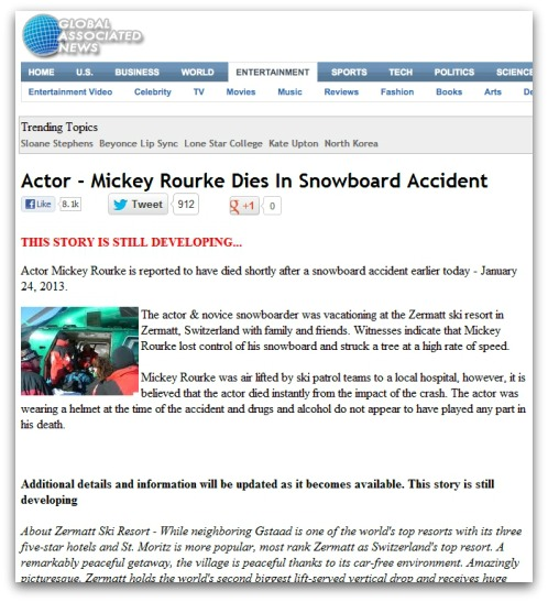 Bogus news story