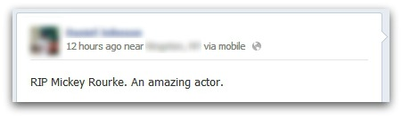A fan (incorrectly) mourns Mickey Rourke on Facebook