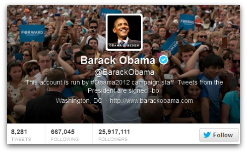 Barack Obama, verified on Twitter