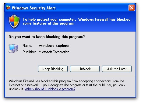 Windows firewall blocking the fake anti-virus