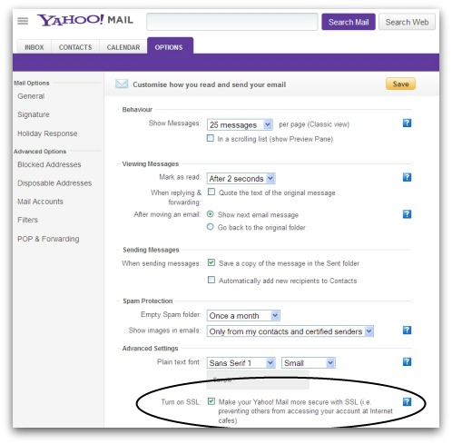 Yahoo Mail options screen