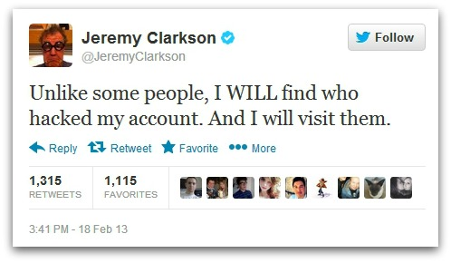 Tweet from Jeremy Clarkson
