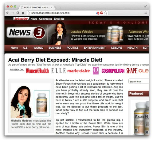 Fake news website, promoting Acai Berry diet