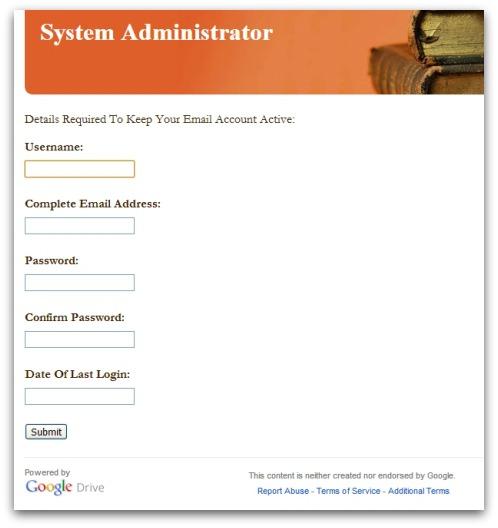 Google Docs phishing page