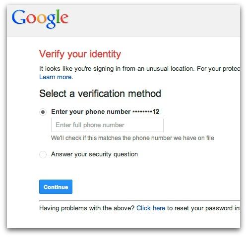 Google requests account verification
