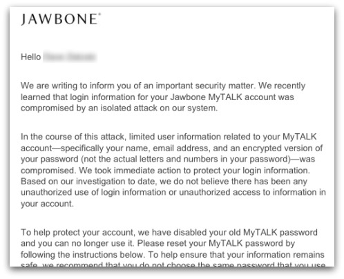 Email from Jawbone