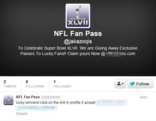Scam Twitter account
