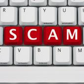 Scam, spelt on keyboard. Image from Shutterstock
