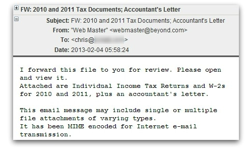 Tax email carrying malware
