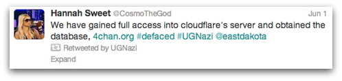 UGNazi on Cloudflare hack