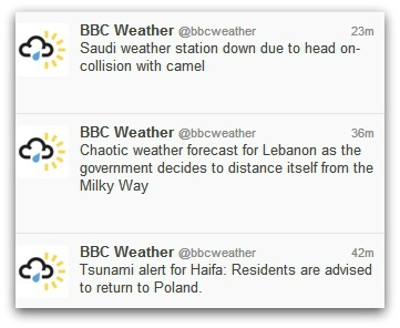 Hijacked BBC Weather Twitter account