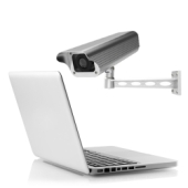 CCTV looking at a laptop. Image from Shutterstock