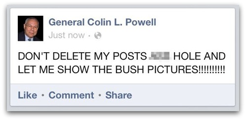 Colin Powell is Facebook hacked