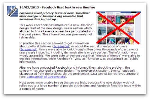 Europe-v-facebook.org - Facebook fixed leak in new timeline