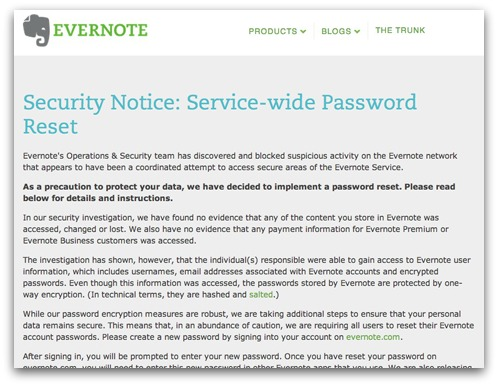 Evernote advisory