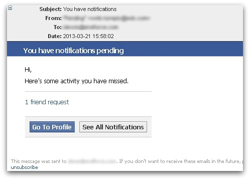 Facebook-related spam message