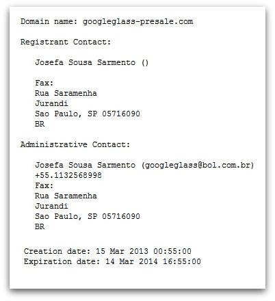 WHOIS information for website