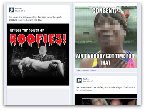 Posts on Roofies Facebook page