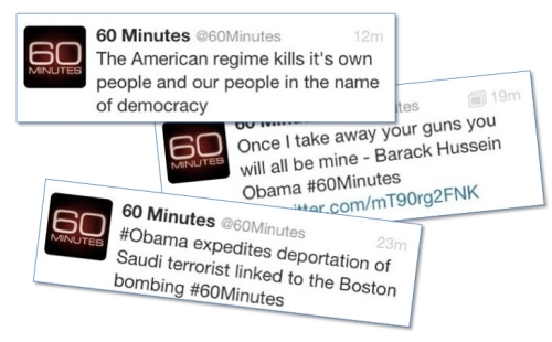 Tweets from hijacked 60 Minutes account