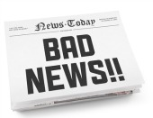 Bad news paper. Image from Shutterstock