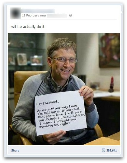 Bill Gates on Facebook message