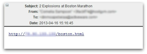 Malicious email about Boston Marathon bombing