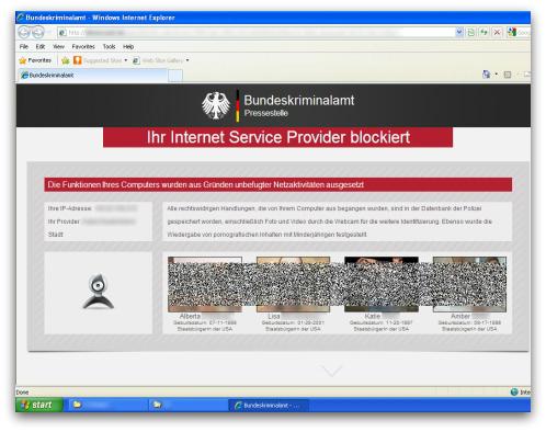 German ransomware lock screen