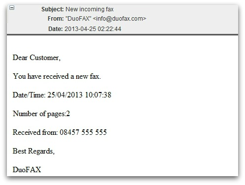 Fax email malware