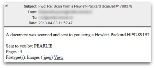 Example of malicious email