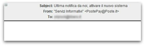 Italian phishing email