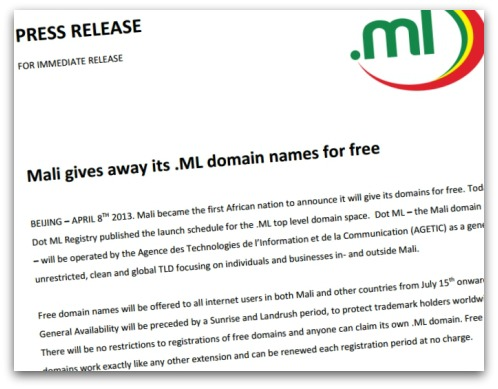 Press release about free .ML domains