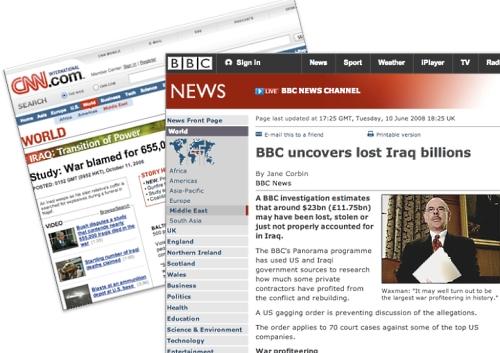 CNN and BBC News stories