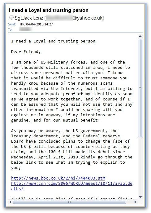 Sgt Jack Lenz sends me an email