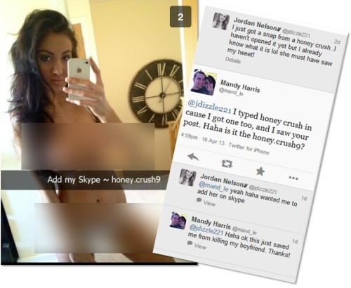 Snapchat spam, and Twitter comments from victims