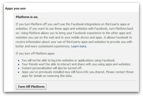 Turn off Facebook platform