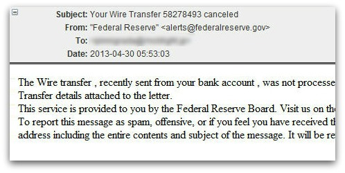 Example of malware-infected email