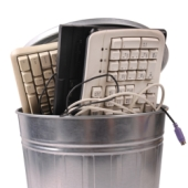 Computer equipment in bin. Image from Shutterstock