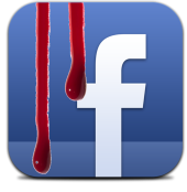 Facebook with blood. Image from Shutterstock