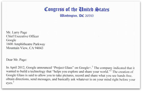 Letter from Congress to Larry Page Google