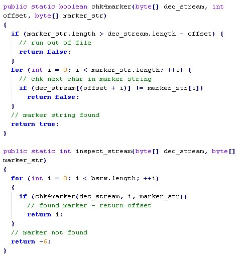 Java code to check for marker in decoded file