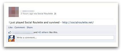 Social roulette Facebook post